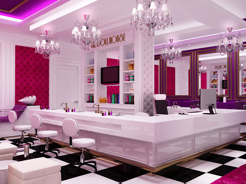 Portfolio rosaco interiors for 7 shades salon dubai